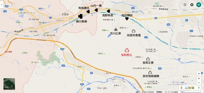 関ヶ原で開戦した時点での南宮山周辺の配置
