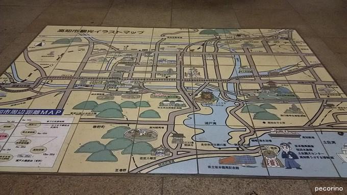 地下公園にある高知市観光イラストマップ